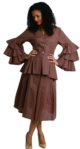 Diana Linen Skirt Set 8216-Brown