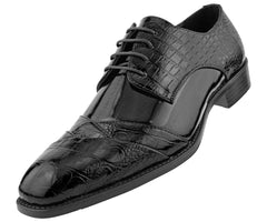 Men Dress Shoes-Alligator-Black - Church Suits For Less