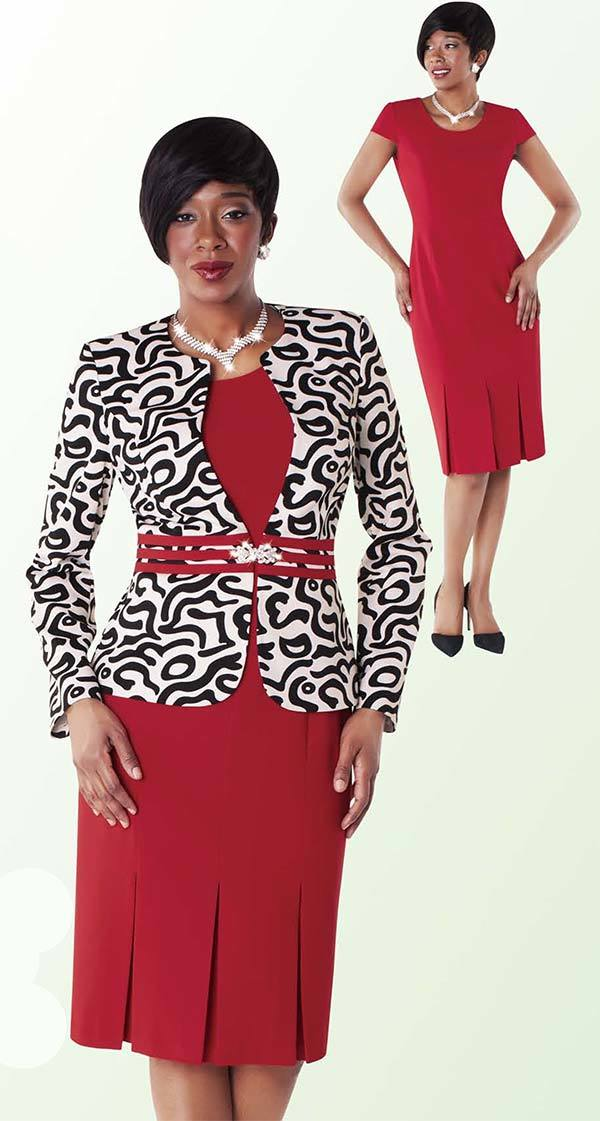 Tally Taylor Dress 9429-Red/Print - Church Suits For Less