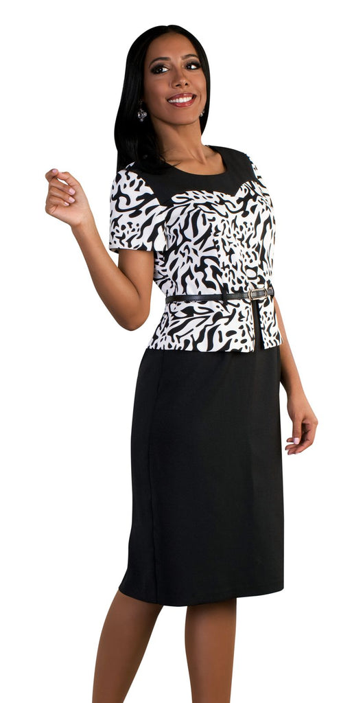 Tally Taylor Dress 9438-Black/Off-White - Church Suits For Less