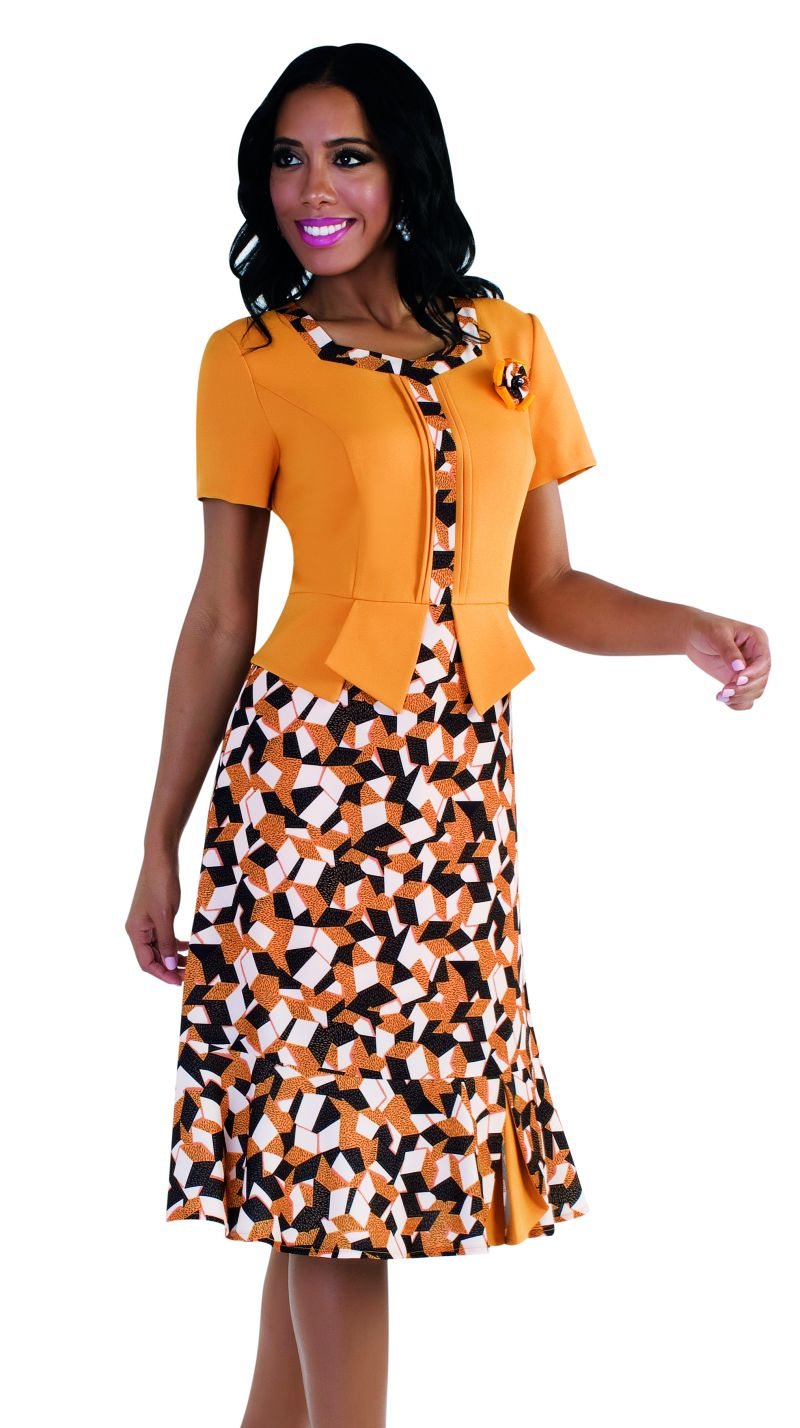 Tally Taylor Dress 9442-Mustard/Black - Church Suits For Less
