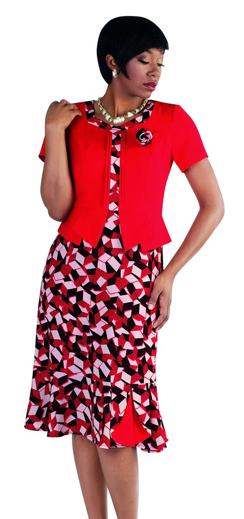Tally Taylor Dress 9442-Lipstick/Black - Church Suits For Less