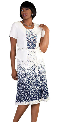 Tally Taylor Dress 9443-White/Navy - Church Suits For Less