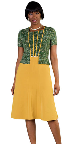 Tally Taylor Dress 9445-Olive/Mustard - Church Suits For Less