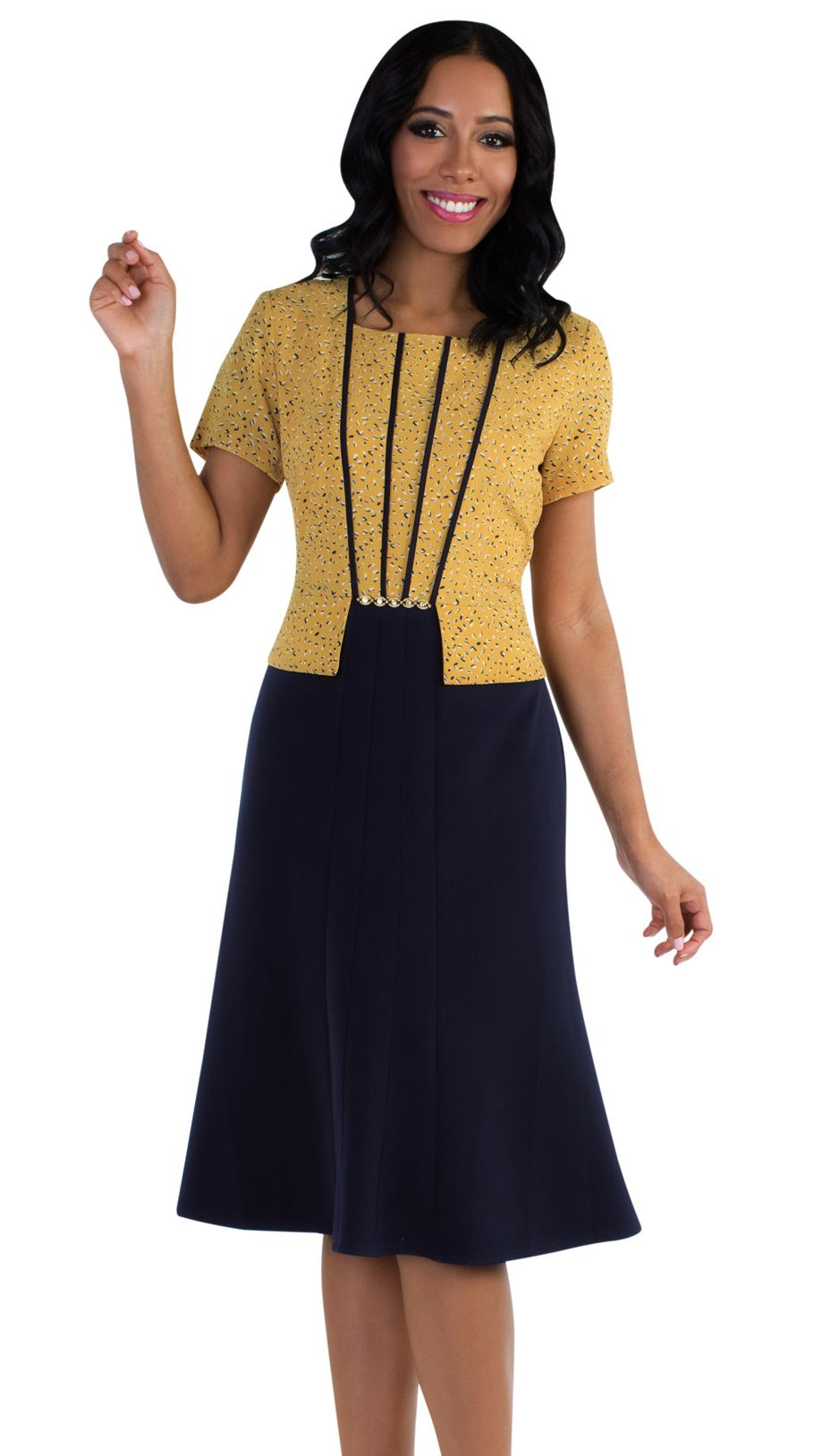 Tally Taylor Dress 9445-Yellow/Navy - Church Suits For Less