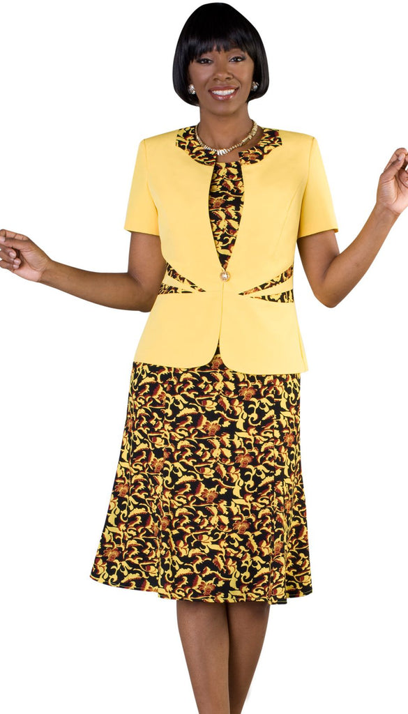 Tally Taylor Dress 9446-Yellow Multi - Church Suits For Less