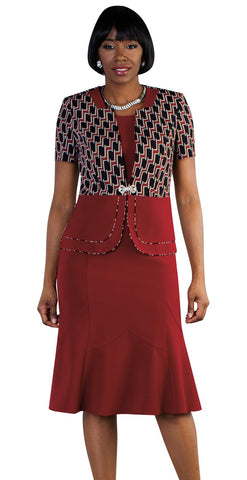 Tally Taylor Dress 9449-Burgundy/Multi