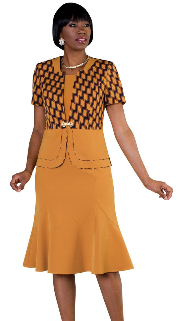 Tally Taylor Dress 9449-Mustard/Multi - Church Suits For Less