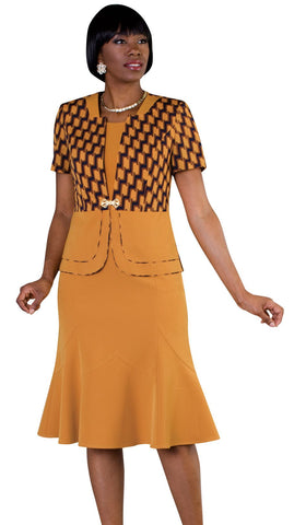 Tally Taylor Dress 9449-Mustard/Multi