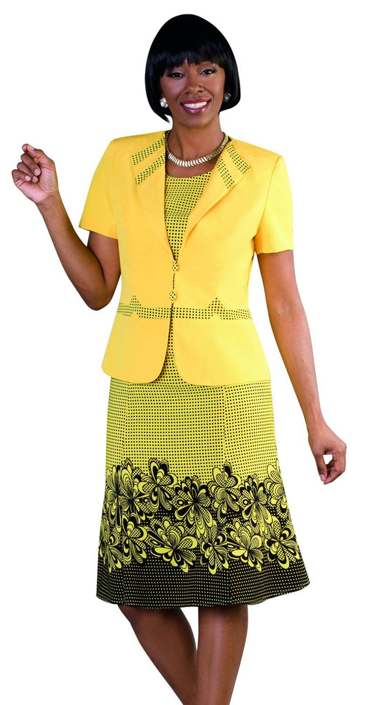 Tally Taylor Dress 9450-Yellow/Black - Church Suits For Less