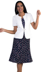 Tally Taylor Dress 9453-Off-White/Navy - Church Suits For Less