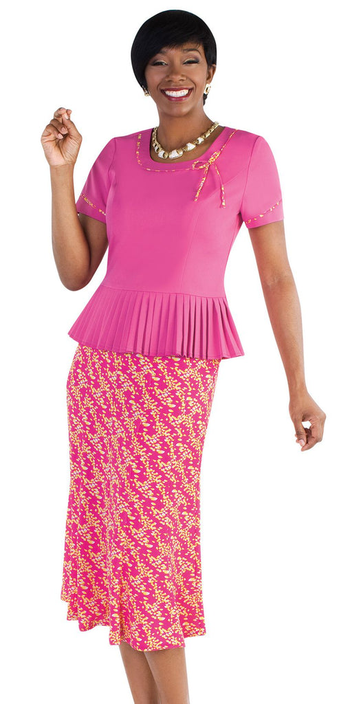Tally Taylor Skirt Suit  9455-Fuchsia/Multi - Church Suits For Less