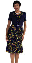 Tally Taylor Dress 9456-Navy/Mimosa - Church Suits For Less