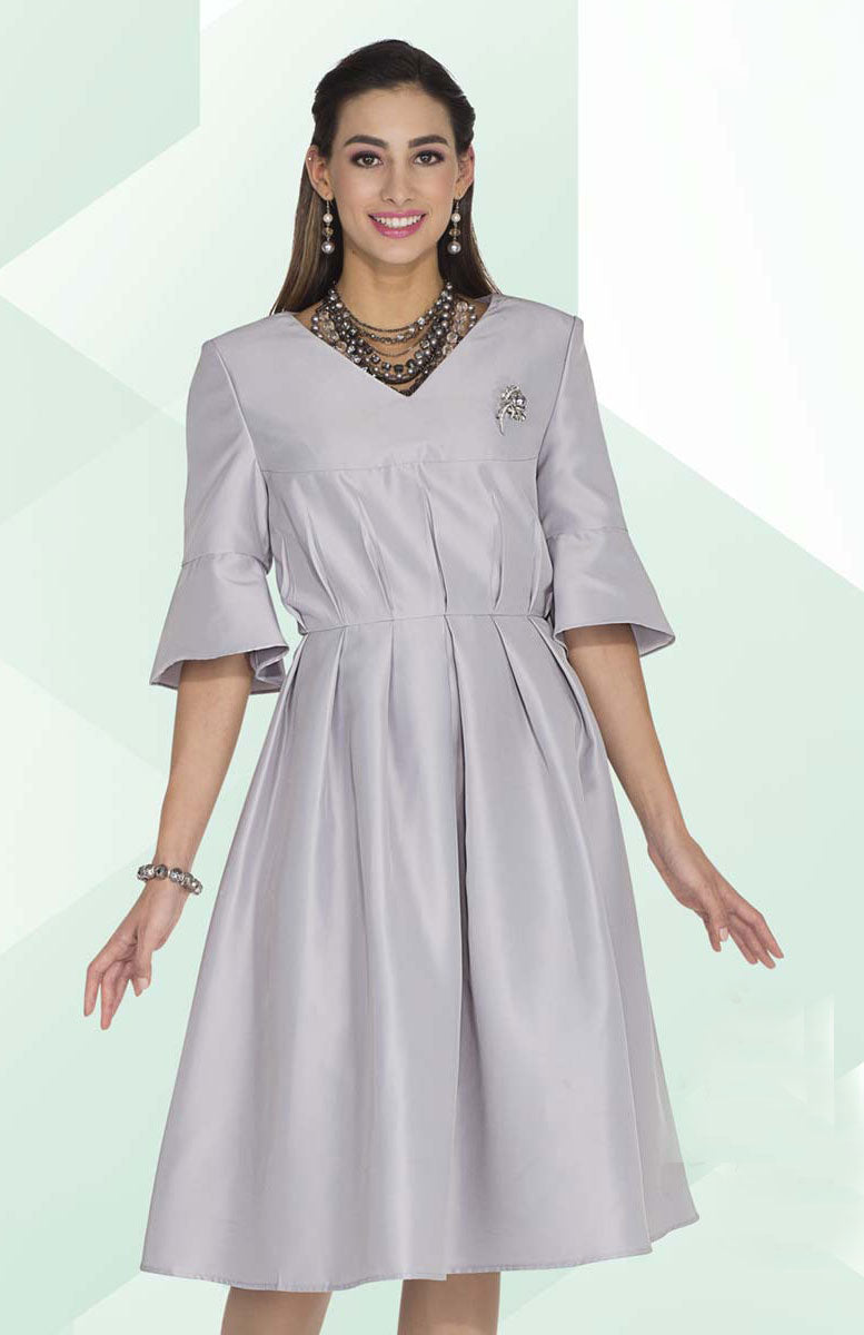 Aussie Austine Dress 1031-Silver Gray - Church Suits For Less