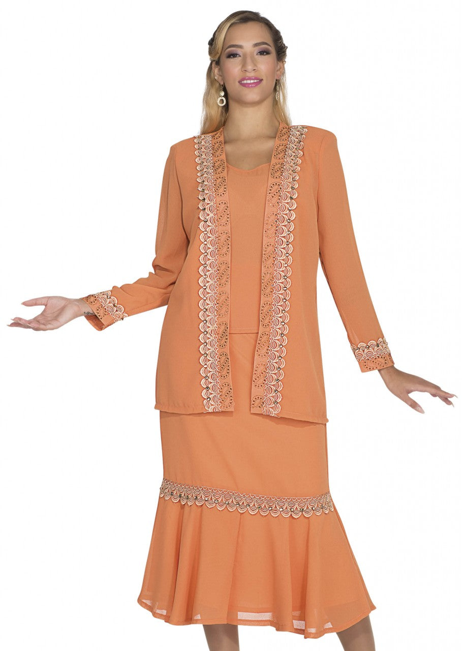 Aussie Austine Christie Skirt Suit 654-Apricot - Church Suits For Less