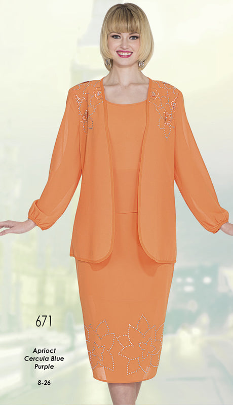 Aussie Austine Christie Skirt Suit 671-Apricot - Church Suits For Less