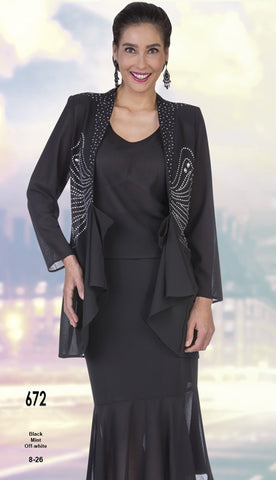 Aussie Austine Christie Skirt Suit 672-Black