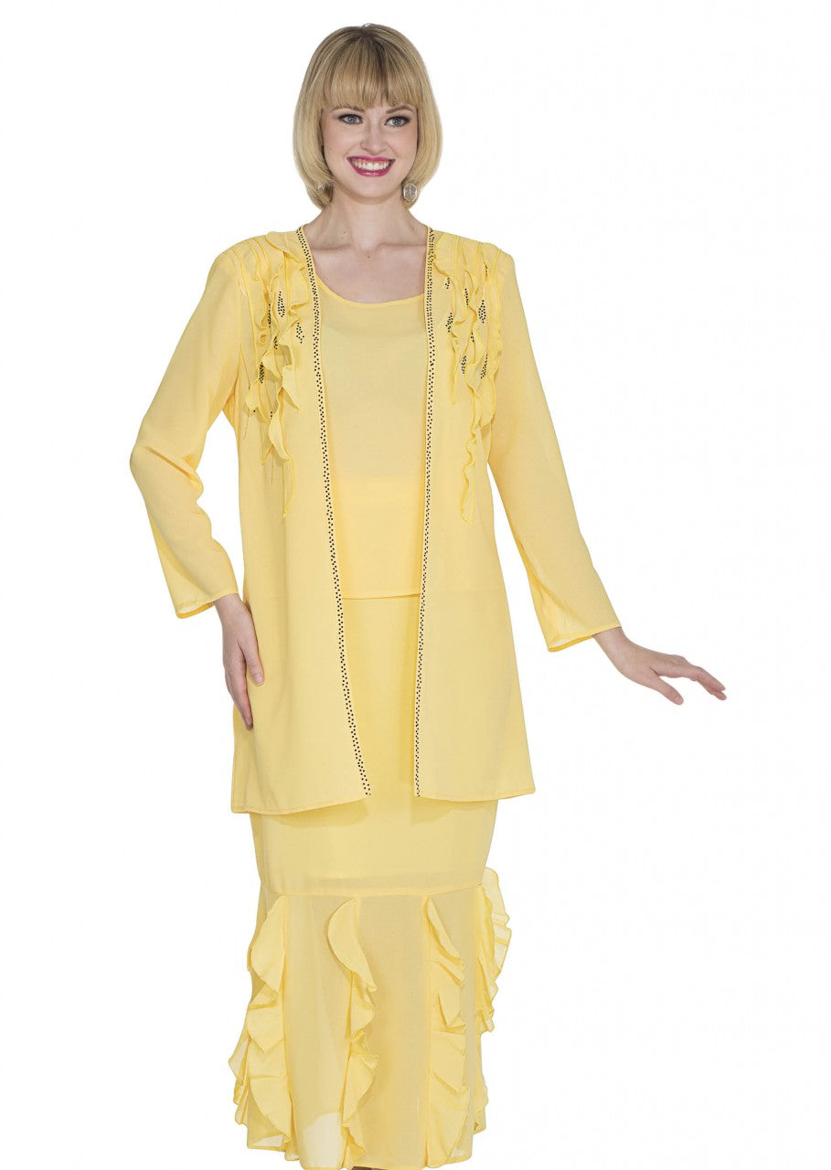 Aussie Austine Christie Skirt Suit 673-Banana - Church Suits For Less