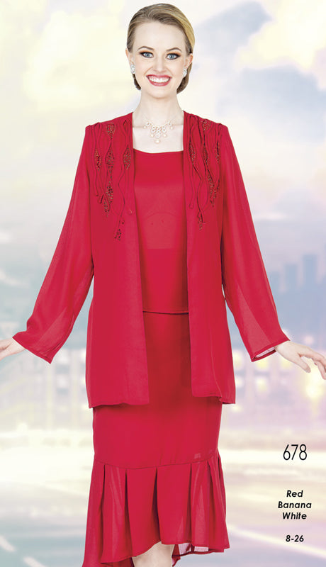 Aussie Austine Christie Skirt Suit 678-Red - Church Suits For Less