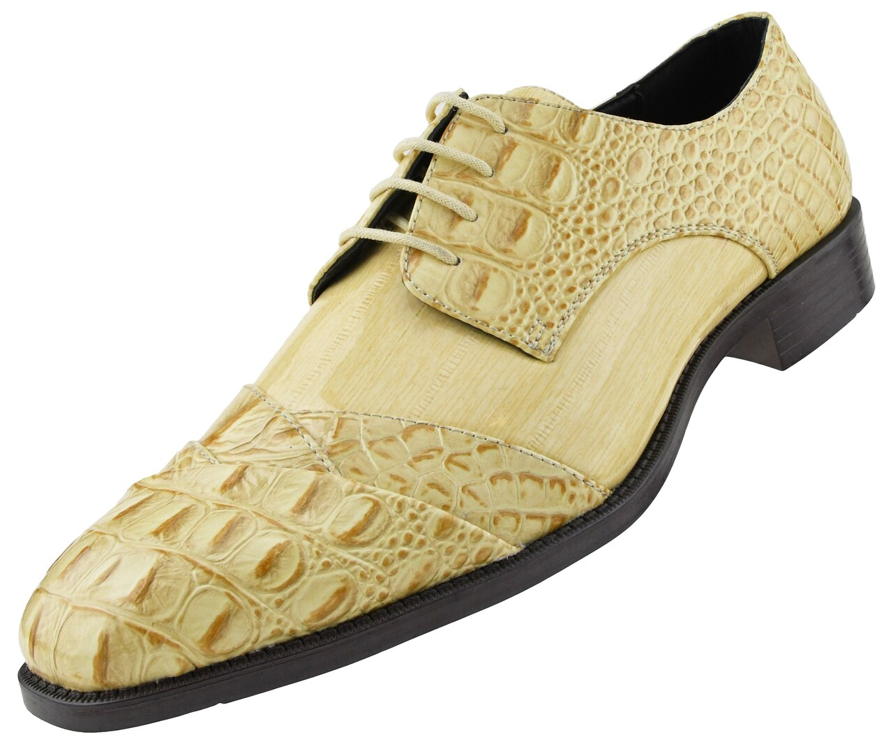 Men Dress Shoes-Alligator-Taupe - Church Suits For Less