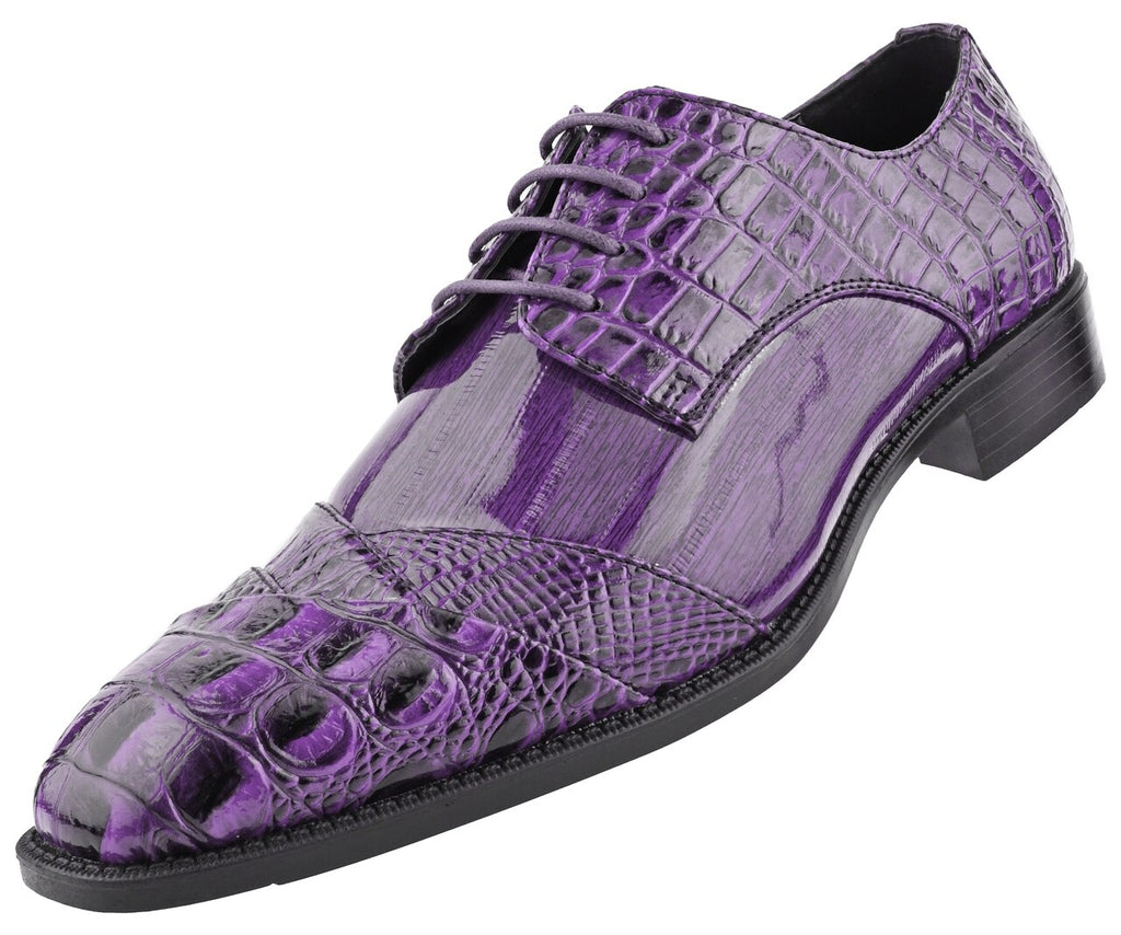 Men Dress Shoes-Alligator-Purple - Church Suits For Less