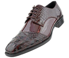 Men Dress Shoes-Alligator-Burgundy - Church Suits For Less