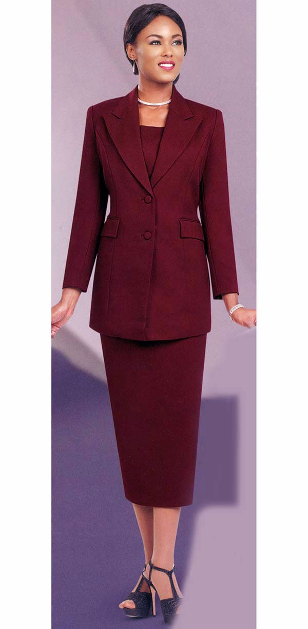 Ben Marc Usher Suit 2299C-Burgundy - Church Suits For Less