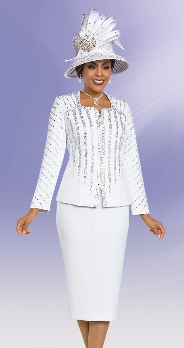 Ben Marc Knit 48157-White - Church Suits For Less