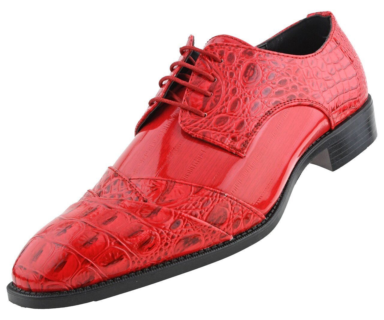 Men Dress Shoes-Alligator-Red - Church Suits For Less