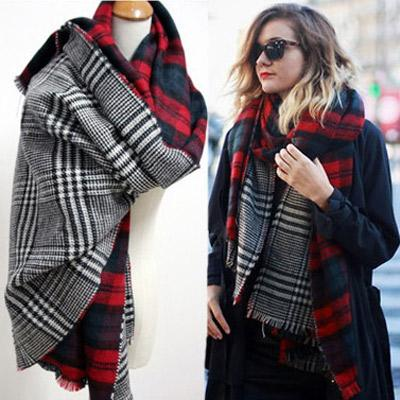 Women Fashion Shawl C52112-Red-Black-White - Church Suits For Less