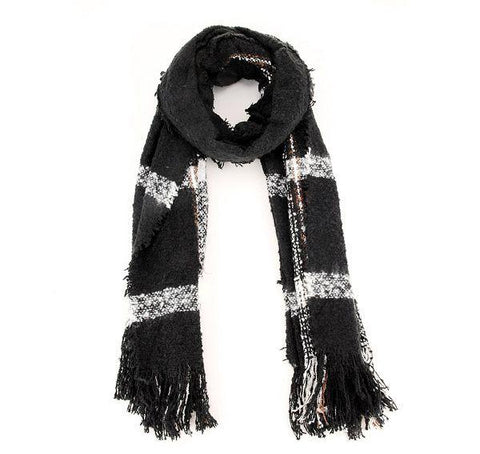 Women Fashion Scarf C52113-Black-White - Church Suits For Less
