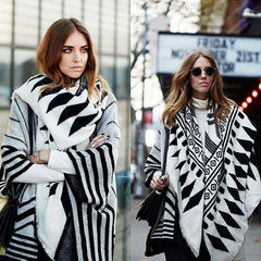 Women Fashion Shawl C76638-Black-White - Church Suits For Less