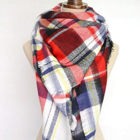 Women Fashion Scarf C76665-Red-Multi - Church Suits For Less
