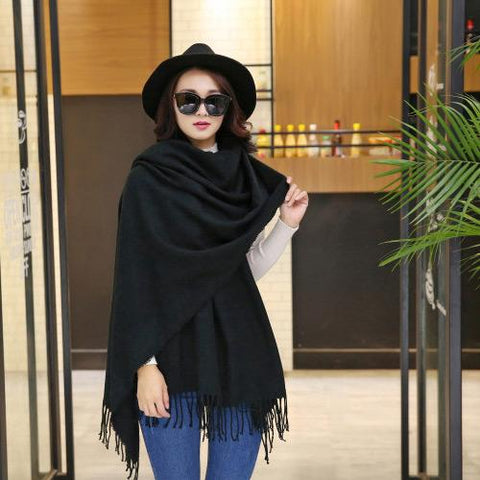 Fashion Women Shawl C76688-Black - Church Suits For Less