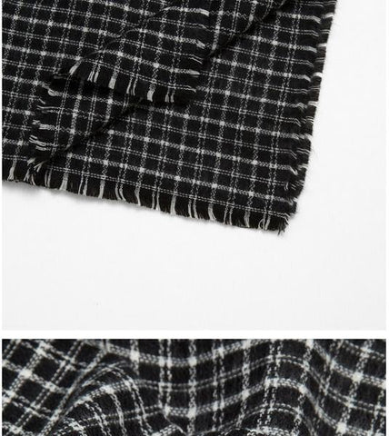 Women Fashion Scarf C76709-Black/White - Church Suits For Less