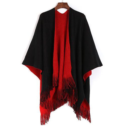 Women Fashion Shawl C76710-Black/Red - Church Suits For Less