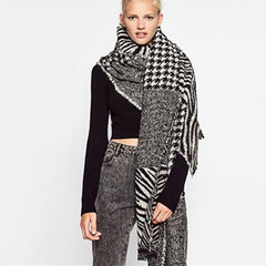 Women Fashion Scarf C76715-Black/White - Church Suits For Less