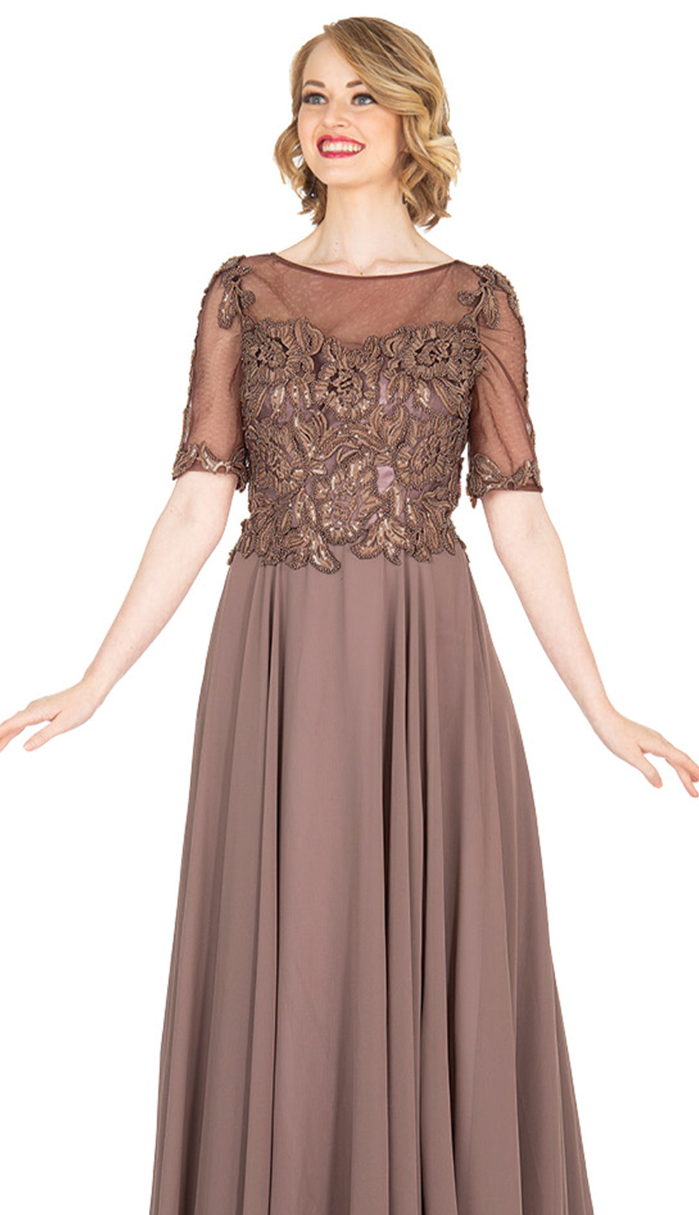 Champagne Italy Dress 5413-Light Brown - Church Suits For Less