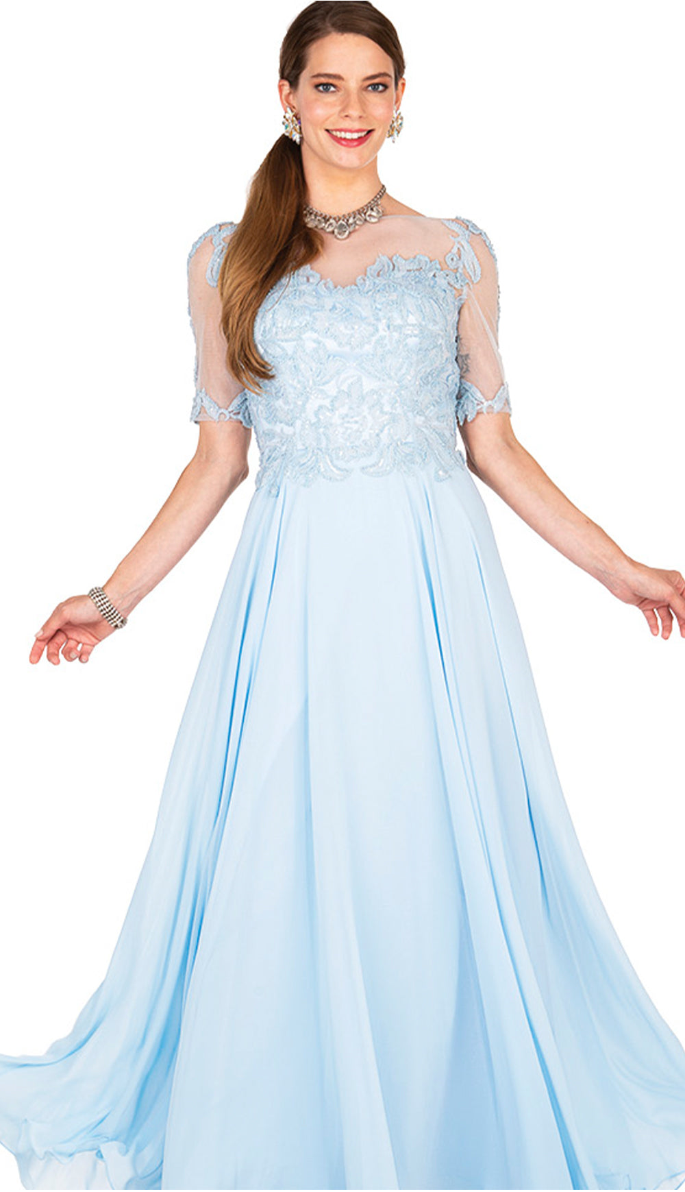 Champagne Italy Dress 5413-Light Blue - Church Suits For Less