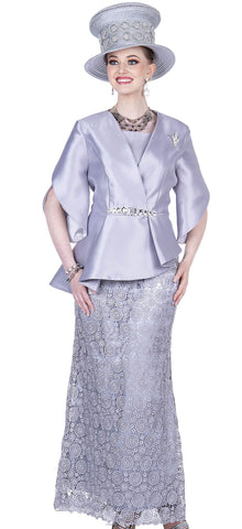 Aussie Austine Suit 5207-Pearl Grey - Church Suits For Less