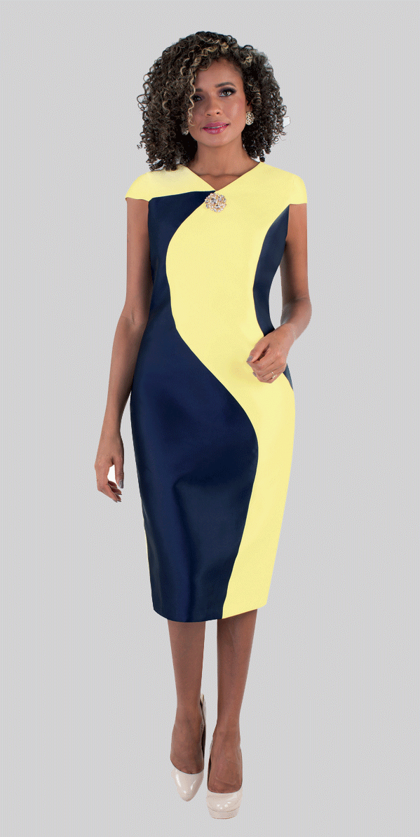 Chancele Dress 9516-Yellow/Navy - Church Suits For Less