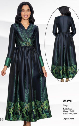 Giovanna Dress D1498-Navy Print - Church Suits For Less