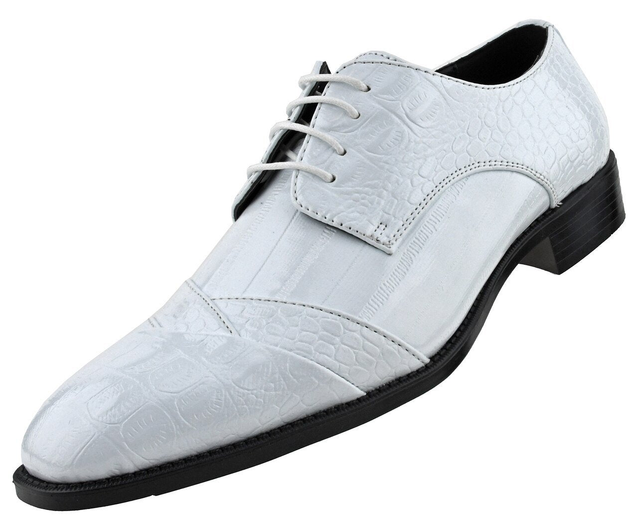 Men Dress Shoes-Alligator-White - Church Suits For Less