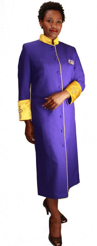 Women Cassock Robe R9001-Purple/Gold - Church Suits For Less