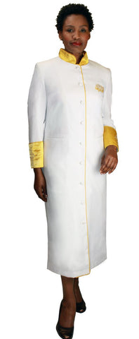 Women Cassock Robe RR9001-White/Gold - Church Suits For Less