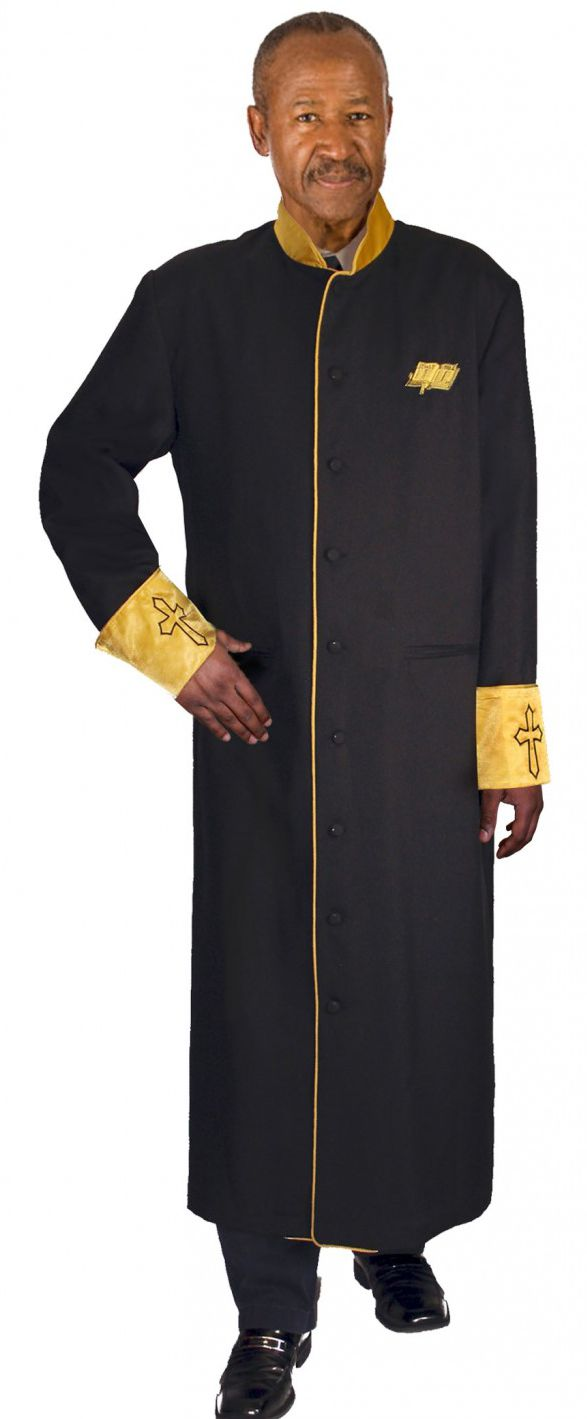 Men Cassock Robe RR9091-Black/Gold - Church Suits For Less