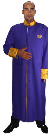 Men Cassock Robe RR9091-Purple/Gold - Church Suits For Less