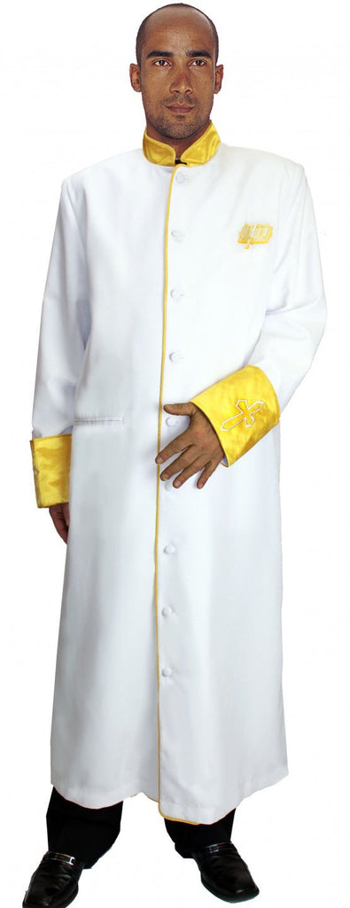 Men Cassock Robe R9091-White/Gold - Church Suits For Less