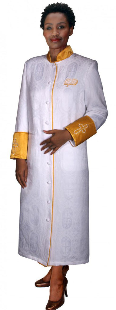 Women Cassock Robe RR9501-White/Gold - Church Suits For Less