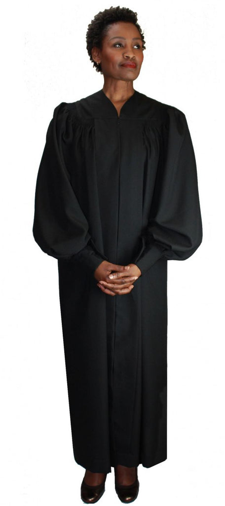 Velcro Cuff Baptismal Robe RR9071-Black - Church Suits For Less